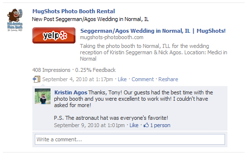 Thanks, Tony! Our guests had the best time with the photo booth and you were excellent to work with! I couldn't have asked for more! -Kristin Agos (via Facebook) P.S. The astronaut hat was everyone's favorite!
